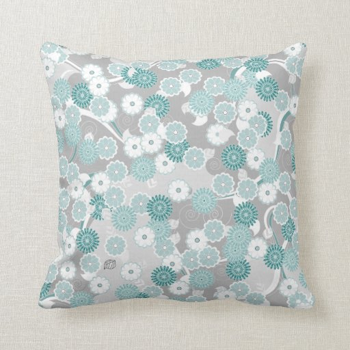 Pretty Abstract Floral Pattern In Teal And Grey Throw