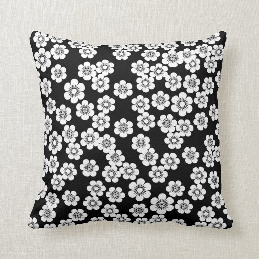 pretty black and white floral print pattern throw pillows zazzle. Black Bedroom Furniture Sets. Home Design Ideas