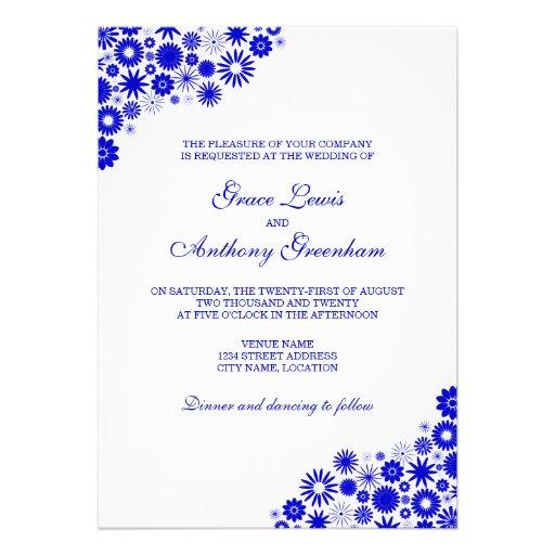 """Pretty Florals Royal Blue Wedding Invitation 5"""" X 7"""