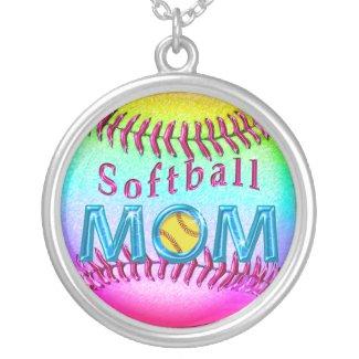 Pretty Metallic Multicolored Softball MOM Necklace