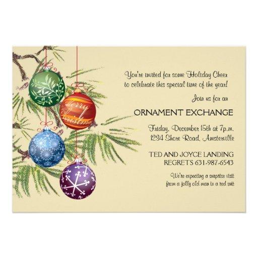 Pretty Ornaments - Holiday Party Invitation