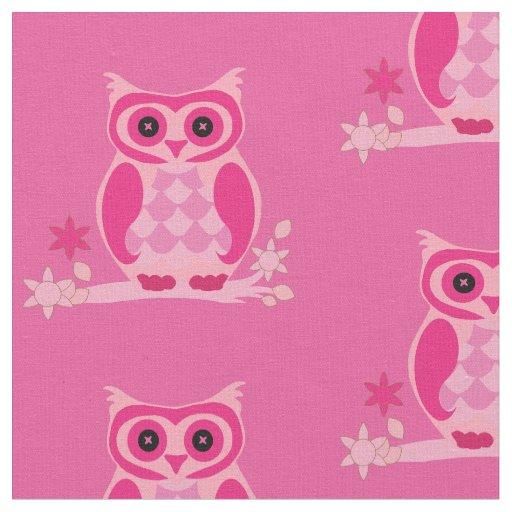 Pretty Pink Owls Fabric | Zazzle
