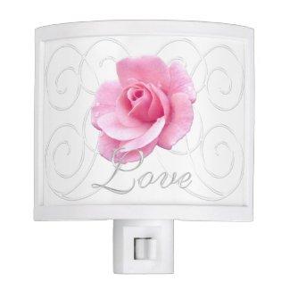 Pretty Pink Rose Night Light, Plug In Nite Lite