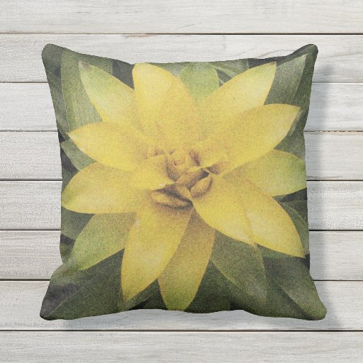 Pretty Yellow Flower Outdoor Floral Throw Pillow Zazzle