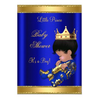 Prince Boy Baby Shower Blue 2 African American Invites
