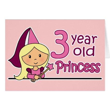Princess Age 3 Greeting Card