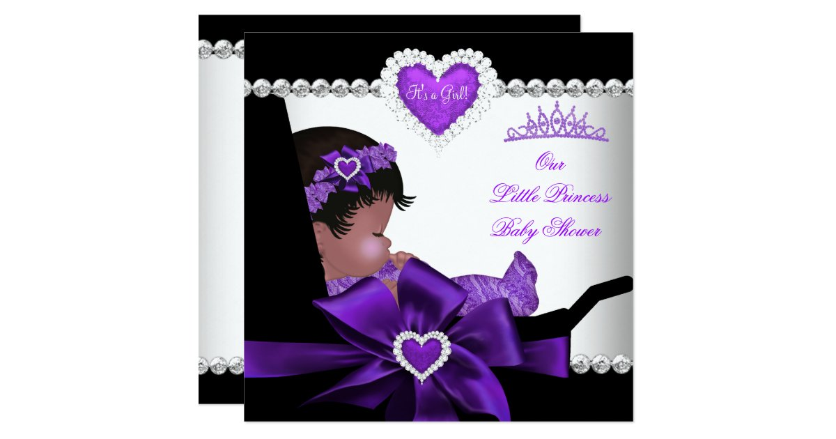 Princess Baby Shower Girl Purple African American Card