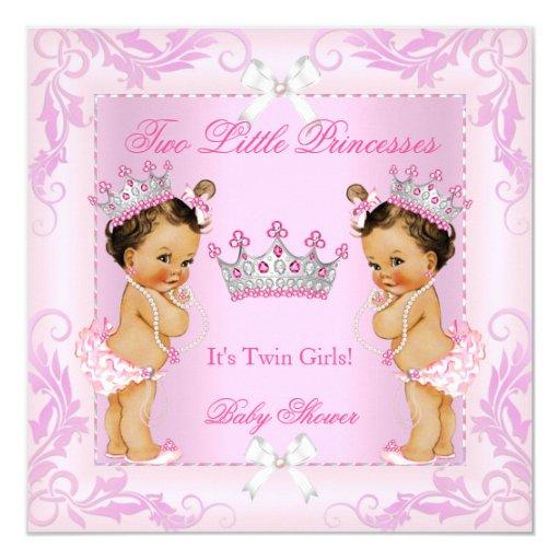 Princess Pink Pearls Twin Baby Shower Tiara Br Card Zazzle