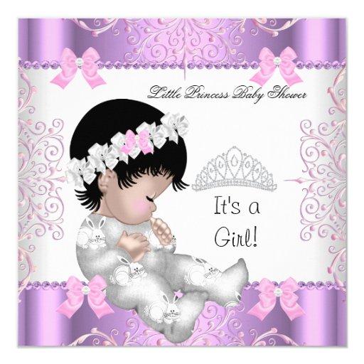 Princess Pink Purple Gray Baby Shower Cute Girl 3