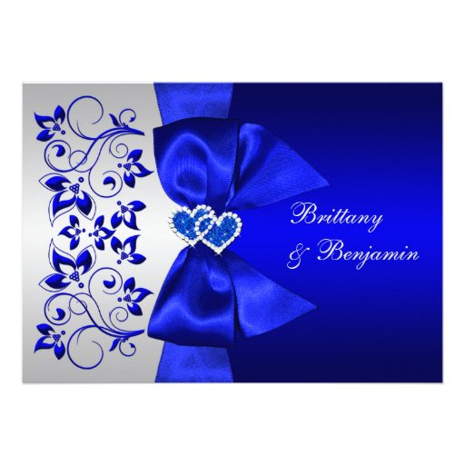"""Wedding Invitations Blue And Silver: PRINTED RIBBON Blue, Silver Floral Wedding Invite 5"""" X 7"""