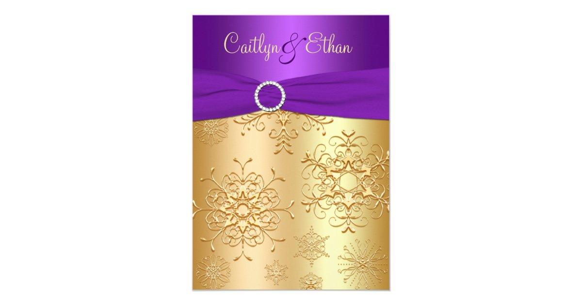 Purple And Gold Wedding Invitations: PRINTED Ribbon Purple, Gold Wedding Invitation