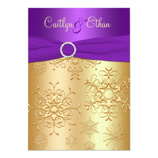 Www Zazzle Com Wedding Invitations: PRINTED Ribbon Purple, Gold Wedding Invitation