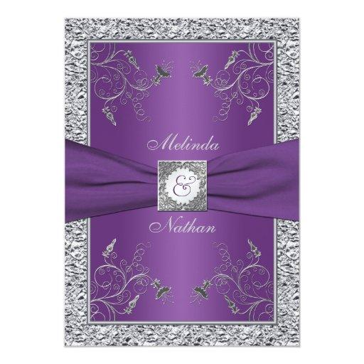 Purple And Silver Wedding Invitations: PRINTED RIBBON Purple Silver Wedding Invitation