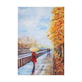 Promenade with an umbrella. gallery wrap canvas