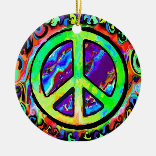 Psychedelic Peace Sign Christmas Ceramic Ornament | Zazzle