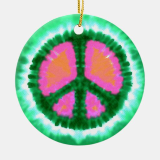 Psychedelic Peace Sign Christmas Double-Sided Ceramic ...