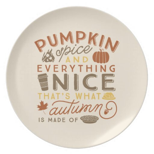 Pumpkin Spice Typographic Autumn Cookie Plate