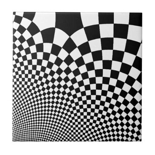 Punk warped retro checkerboard in black and white ceramic tiles ... - Black White Ceramic Tile