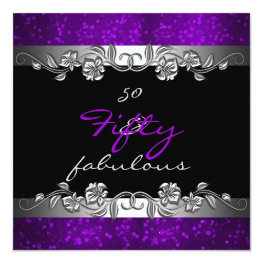 60th Birthday Color Ideas: Purple 50 & Fabulous 50th Birthday Party Invitation