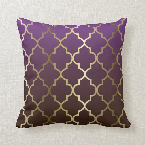 Purple And Brown Blend Gold Quatrefoil Pattern Throw