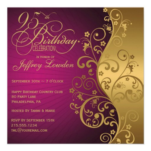 Purple And Gold 95th Birthday Party Invitation