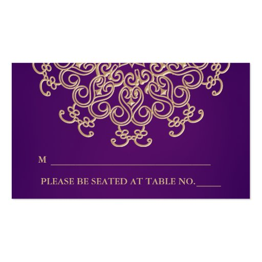 Purple And Gold Indian Inspired Seating Place Card Business