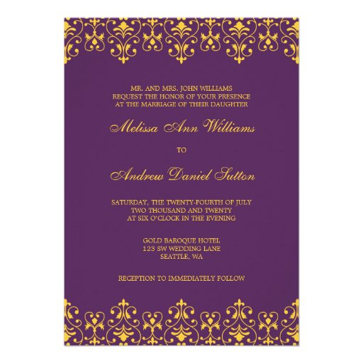 "Gold And Purple Wedding Invitations: Purple And Gold Vintage Baroque Wedding Invitation 5"" X 7"