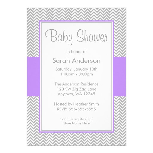 "Purple And Gray Chevron Baby Shower Invitations 5"" X 7"