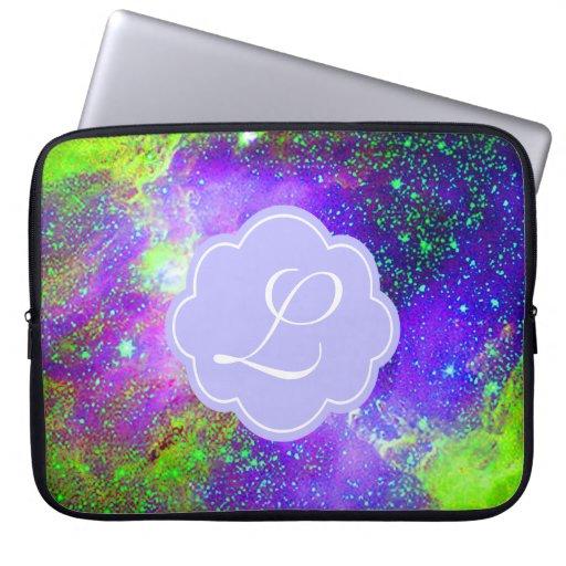 purple and green Galaxy Nebula monogram Computer Sleeves ...