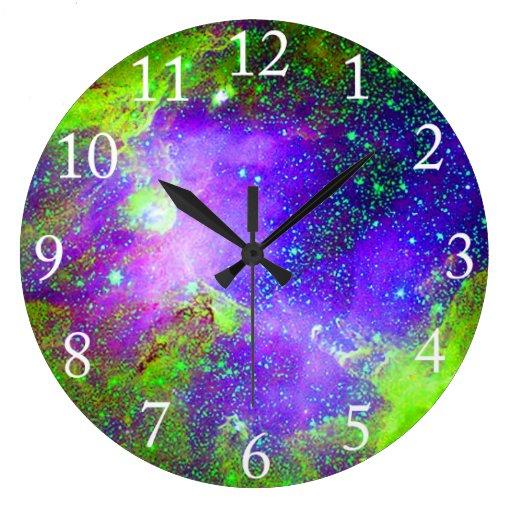 purple and green Galaxy Nebula space image. Wall Clock ...