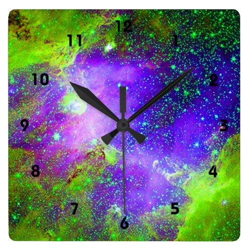 purple and green Galaxy Nebula space image. Square ...