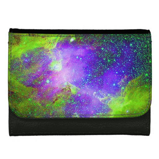 purple and green Galaxy Nebula space image. Leather Wallet ...