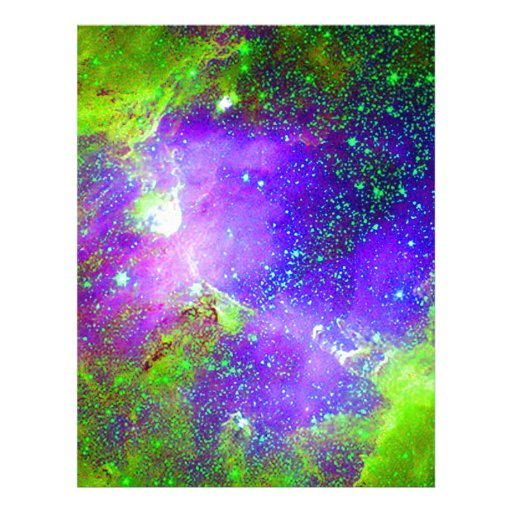 Purple And Green Galaxy Nebula Space Image Letterhead