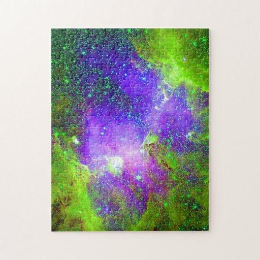 purple and green Galaxy Nebula space image. Jigsaw Puzzle ...