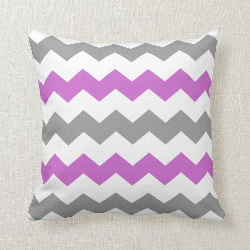 Purple and Grey Chevron Throw Pillow | Zazzle