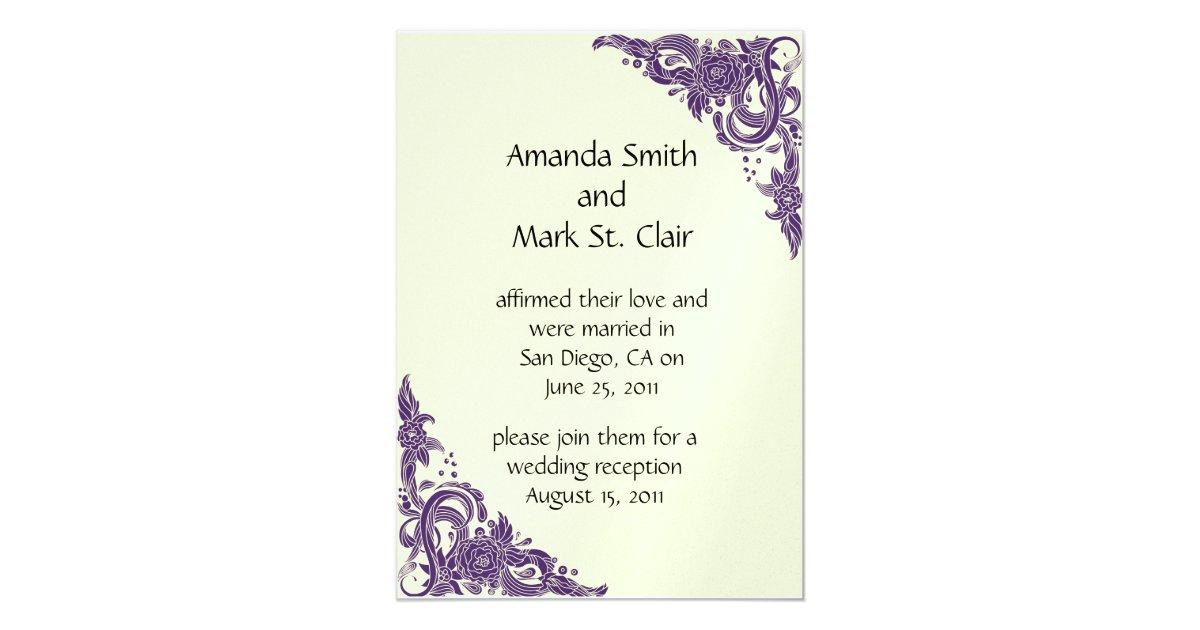 Post Wedding Invitations Reception: Purple And Ivory Post Wedding Reception Invitation