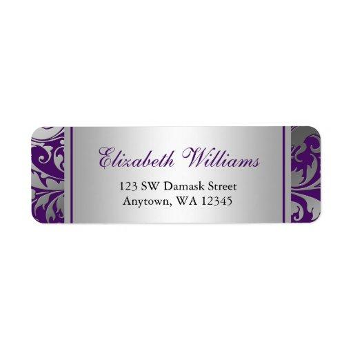 Purple And Silver Damask Swirls Return Address Label