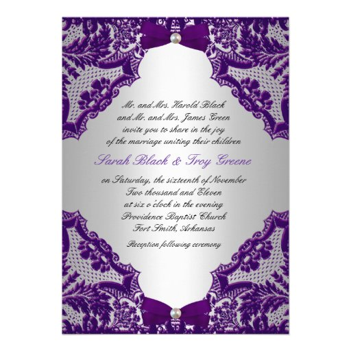 "Silver And Purple Wedding Invitations: Purple And Silver Wedding Invitation 5"" X 7"" Invitation"