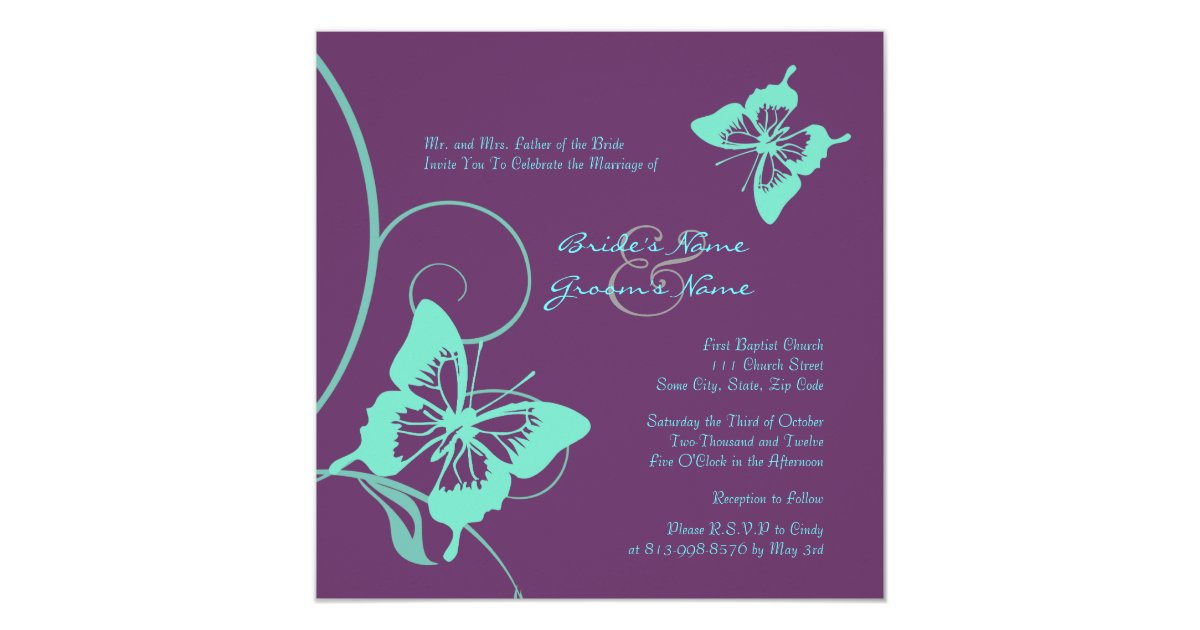 Teal Invitations Wedding: Purple And Teal Butterfly Wedding Invitation