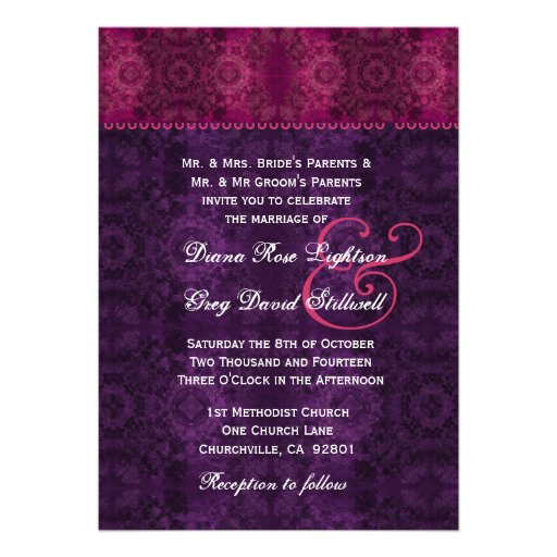 Purple And Wine Floral Lace Wedding D327 Invitations