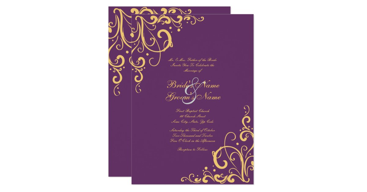 Flourish Wedding Invitations: Purple And Yellow Flourish Wedding Invitation