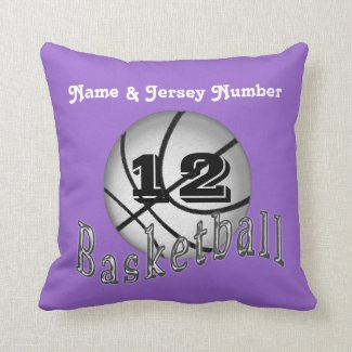 Purple Basketball Pillow with Your NAME and NUMBER