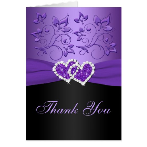 purple black floral joined hearts thank you card  zazzle