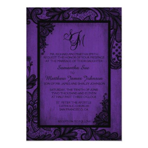 Dark Purple Wedding Invitations: Purple Black Lace Gothic Wedding Invitation Card