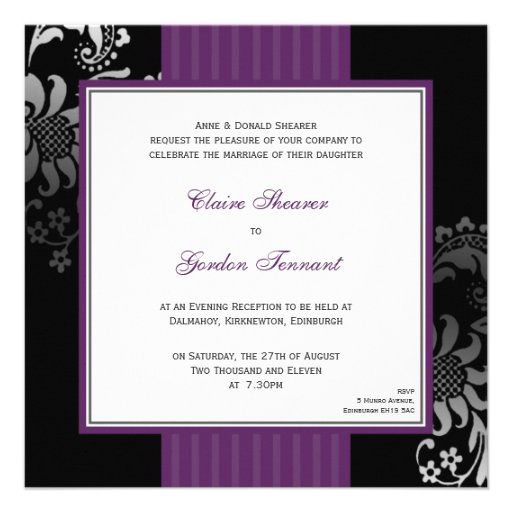 Dark Purple Wedding Invitations: Purple & Black Wedding Invitation