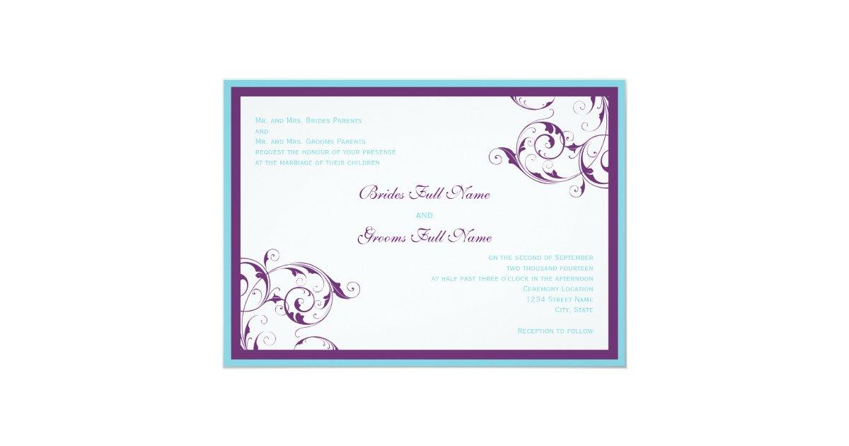 Purple And Blue Wedding Invitations: Purple & Blue Flourish Wedding Invitation