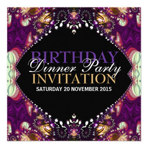Purple Bohemian Birthday Dinner Party Invitation 5.25