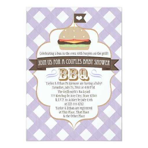 Purple Burger Couples BBQ Baby Shower Invitations
