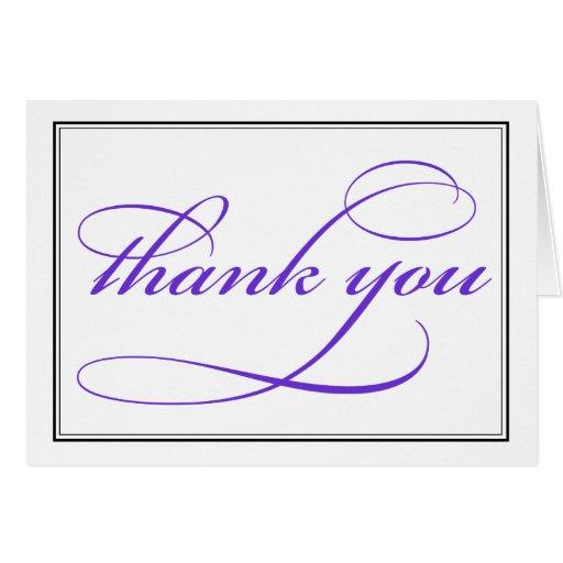purple calligraphy script thank you note card  zazzle