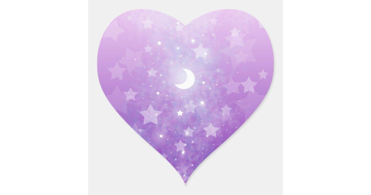 Purple Celestial Fantasy Art Stars And Moon Heart Sticker Zazzle